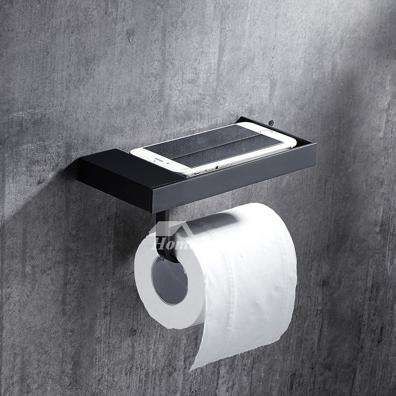 Exquisite Wall Mount Shelf Black Toilet Paper Holder Bathroom