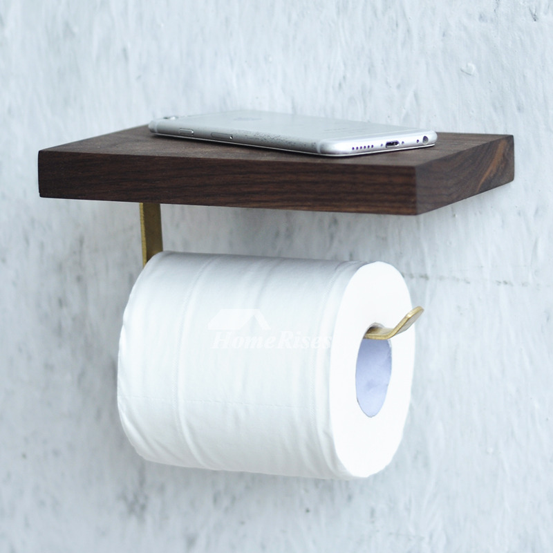 Toilet Paper Holder With Shelf Wall Mount Wood Brown Natural