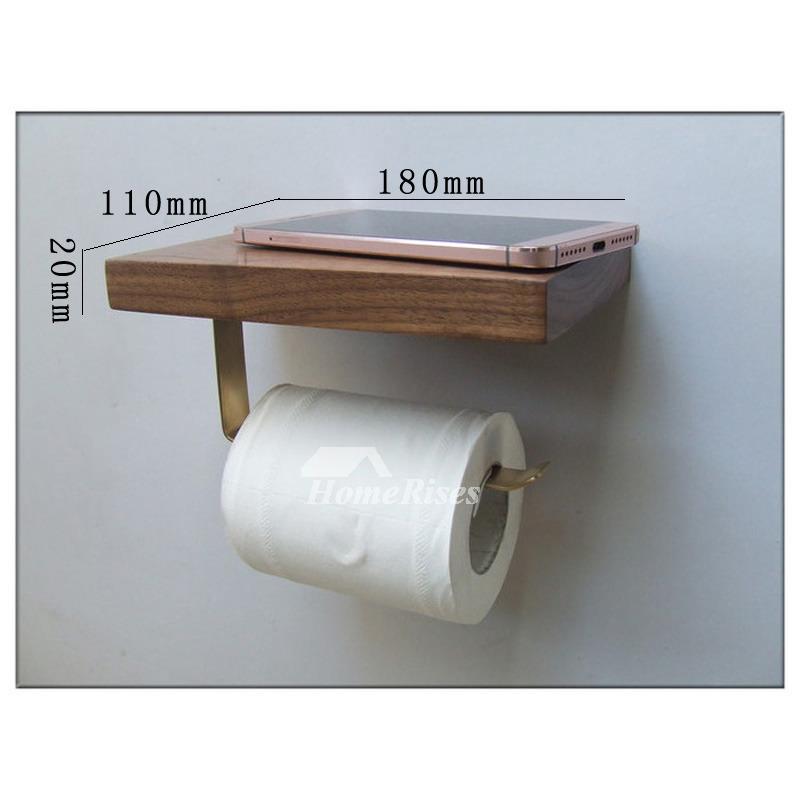 wall mount toilet paper holder wooden natural with shelf. Black Bedroom Furniture Sets. Home Design Ideas