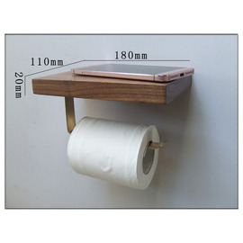 Wall Mount Toilet Paper Holder Wooden Natural With Shelf