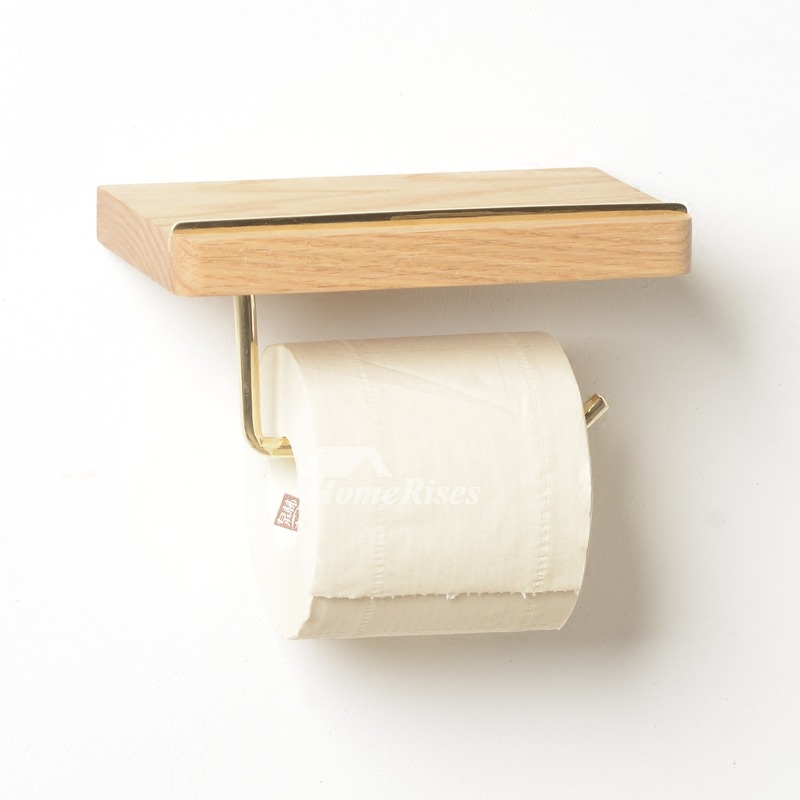Wood toilet paper holder wall mount natural single Wood toilet paper holders
