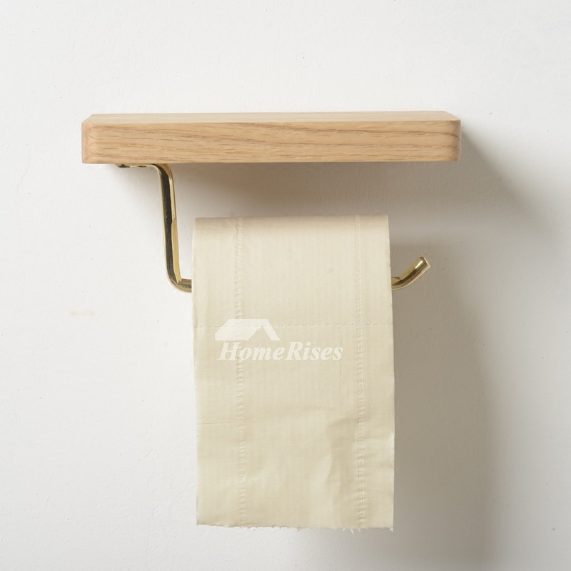 Wood Toilet Paper Holder Wall Mount Natural Single