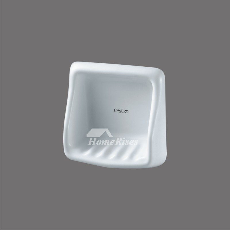Wall mounted ceramic soap dish white for bathroom for Wall mounted soap dishes for bathrooms