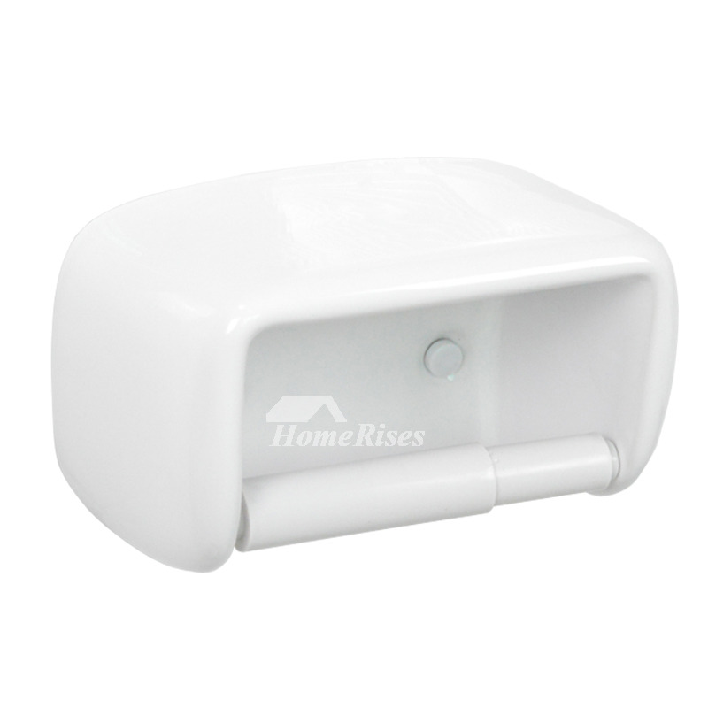 Porcelain Toilet Paper Holder Ceramic Wall Mount White