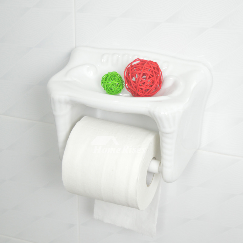 Ceramic Toilet Paper Holder Wall Mount With Shelf