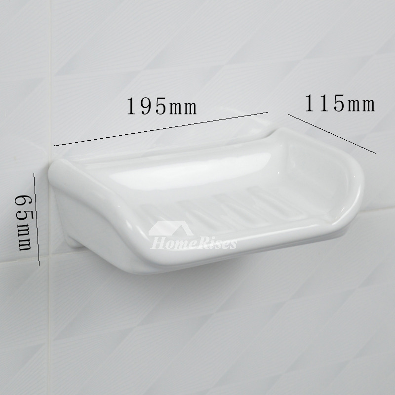 White Ceramic Tile Soap Dish Wall Mounted Bathroom