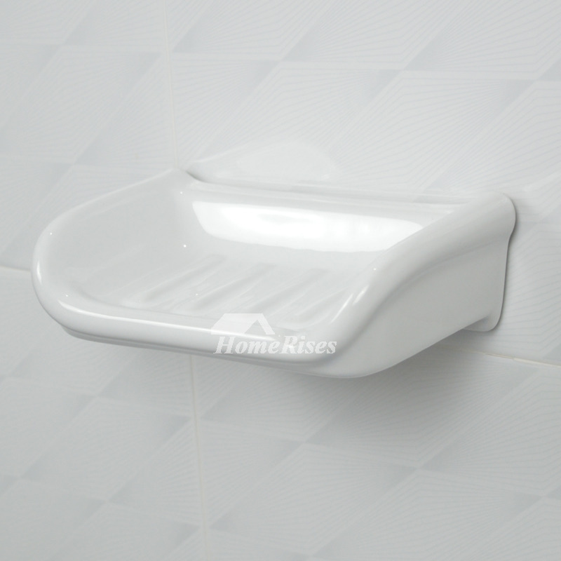 White ceramic tile soap dish wall mounted bathroom for Wall mounted soap dishes for bathrooms