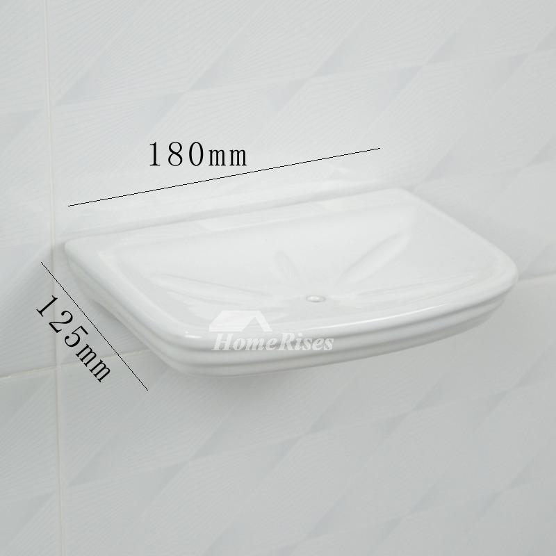 Ceramic Tile Soap Dish Wall Mount White Enamel Bathroom
