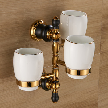 Polished Brass Swing Arm Towel Rack Wall Mount Brush Holder