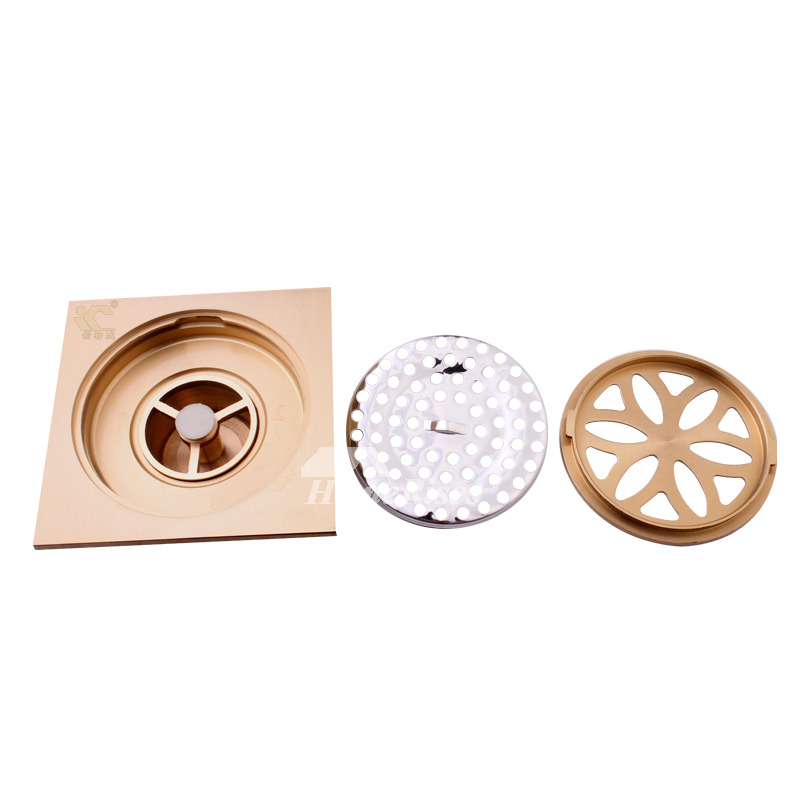 Thicken Brass 4 Inch Square Shower Drain Cover Floor Mounted
