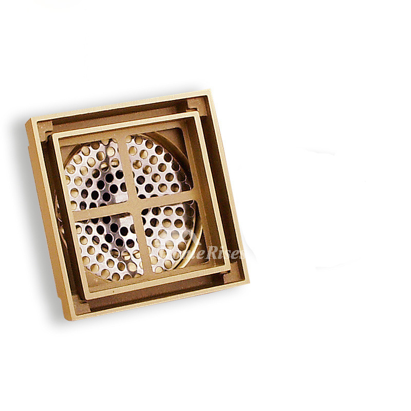 Vintage Floor Mounted Hidden Shower Drain Square Shaped