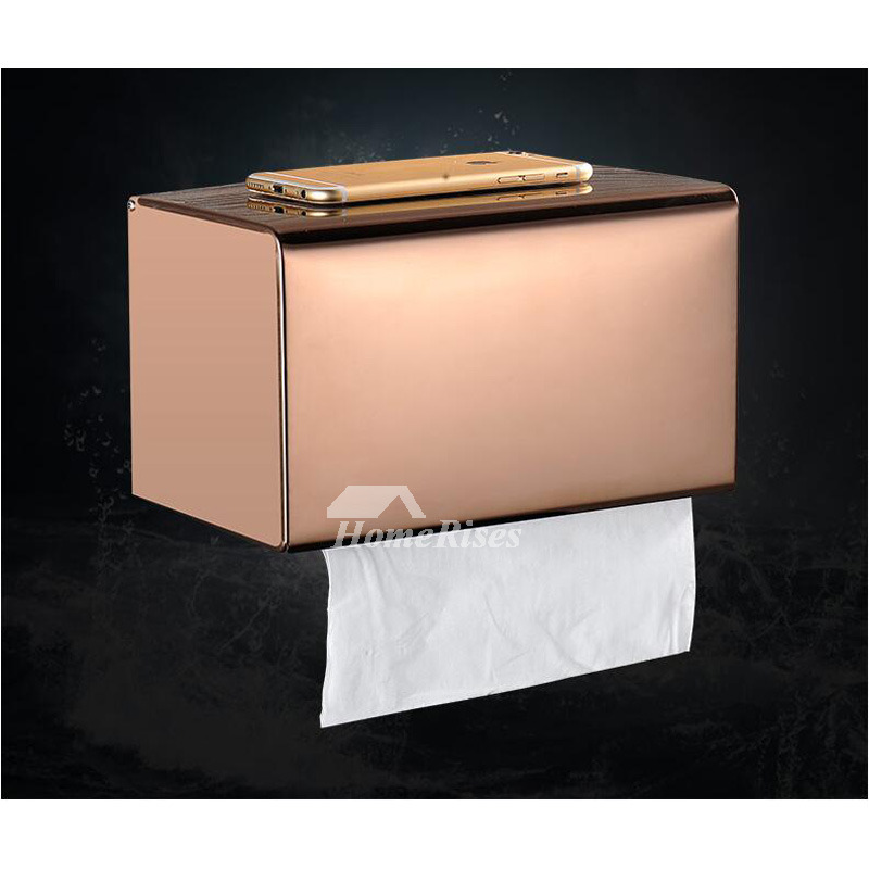 Polished Brass/Chrome/Rose Gold No Drill Stainless Steel Toilet Paper Holder