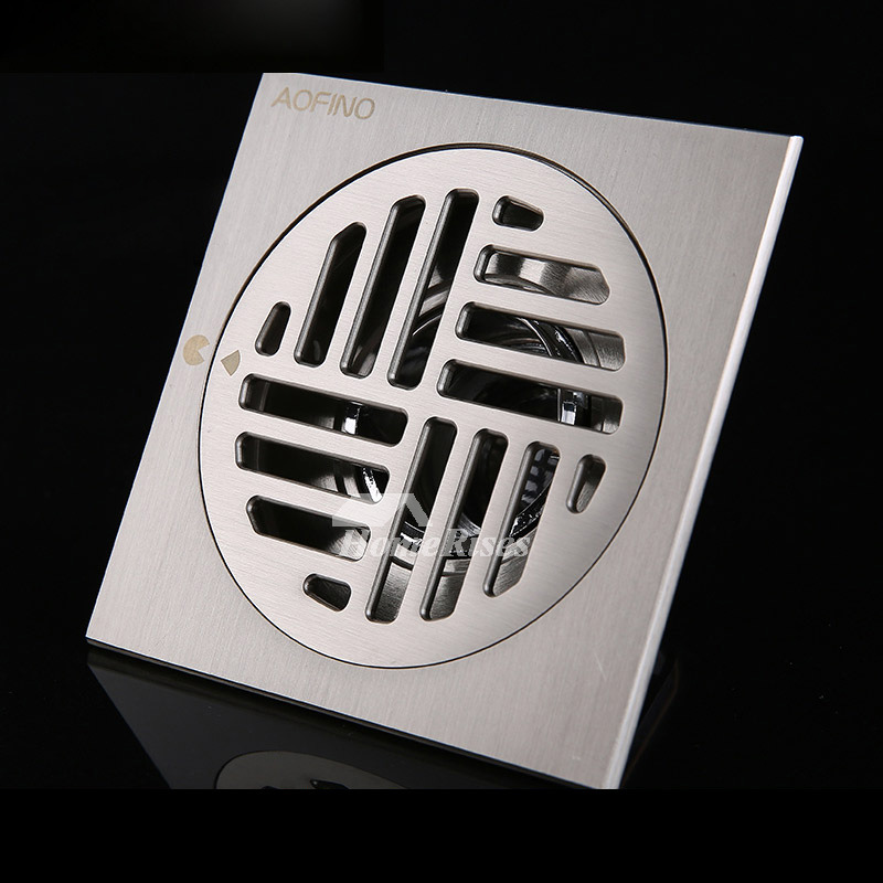 Vintage Square Shower Drain Brass Bathroom Floor Mounted