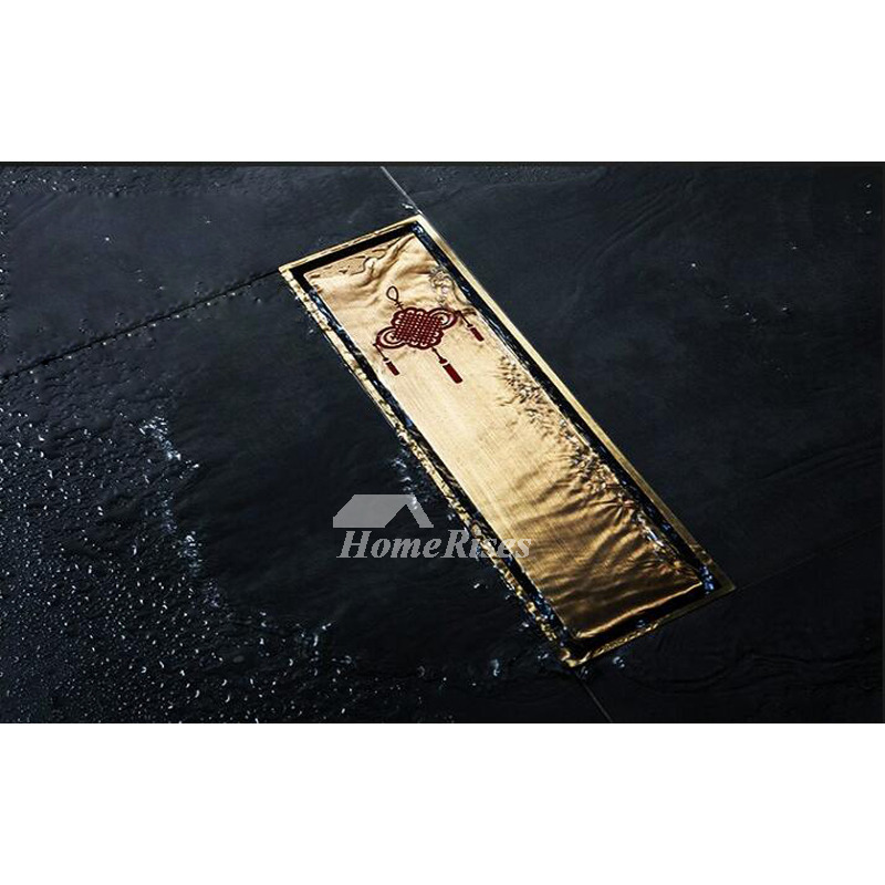 Luxury 12 Inch Rectangular Shower Drain Antique Brass Bathroom