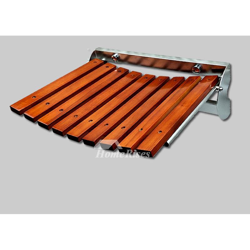 Wooden Shower Seat Largen Oak Stainless Steel Folding