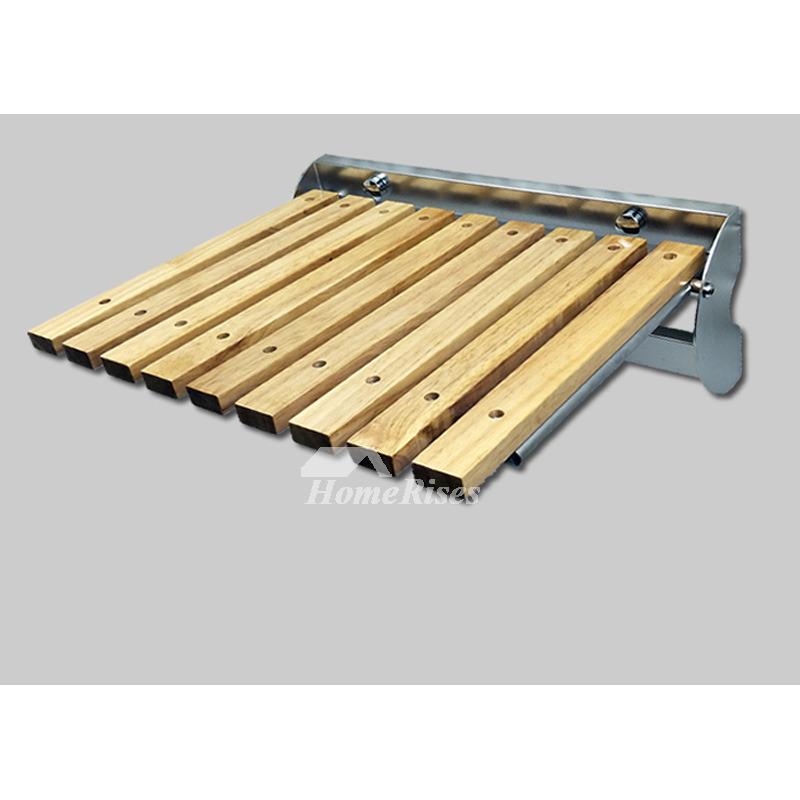 Shower Seat Largen Oak Stainless Steel Folding