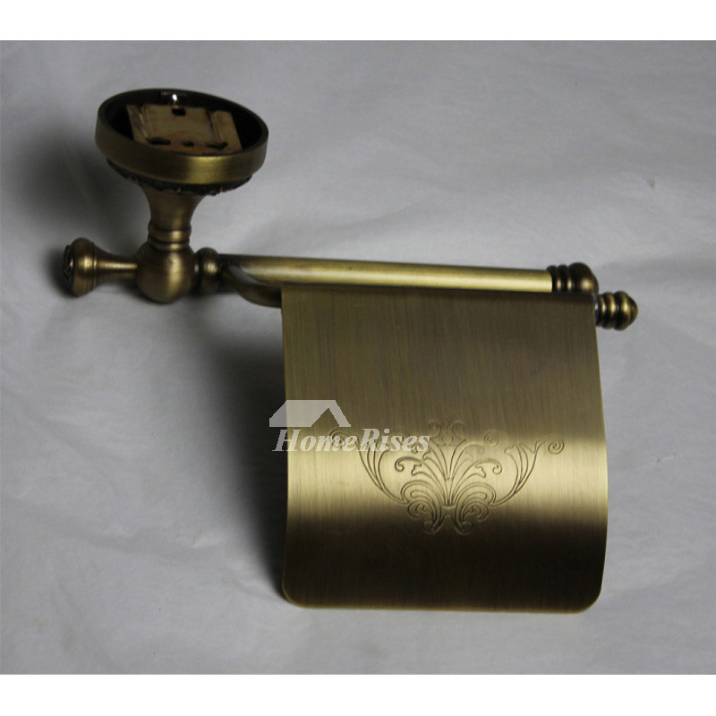 Vintage Carved Antique Brass Toilet Paper Holder Bathroom