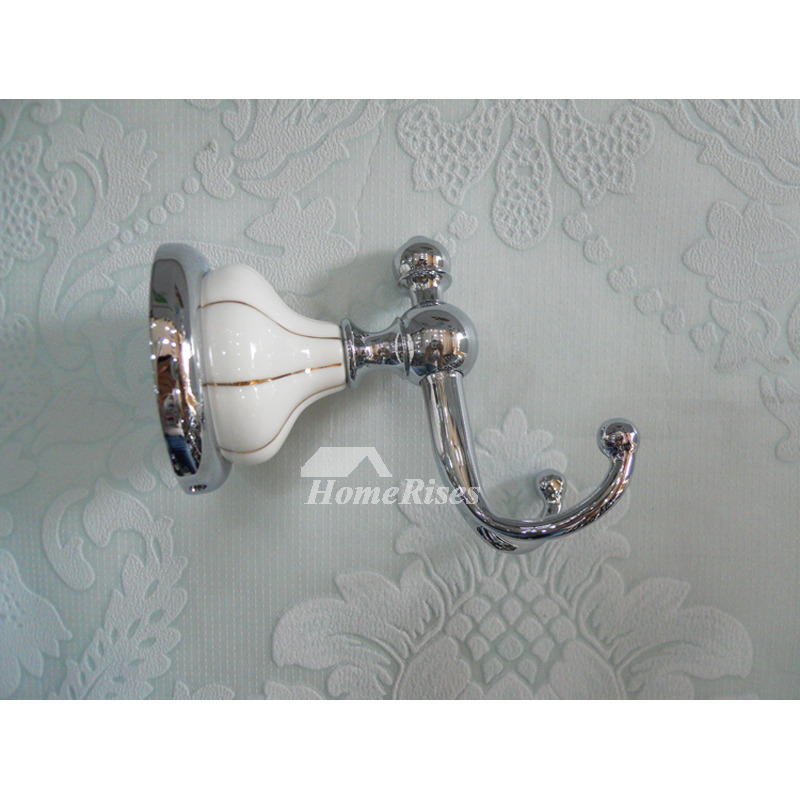 Ceramic double robe hook chrome wall mount bathroom for Ceramic towel hooks for bathrooms