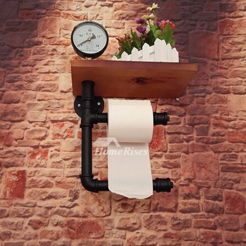 Industrial pipe toilet paper holder wood wall mount Wood toilet paper holders