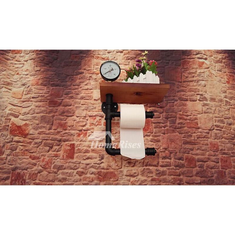 Industrial Pipe Toilet Paper Holder Wood Wall Mount