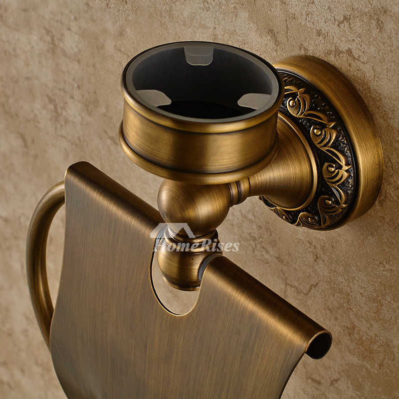carved antique brass toilet paper holder with ashtray