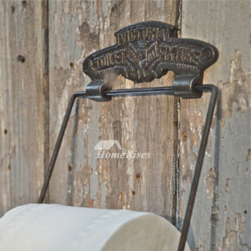 unique toilet paper holder iron wood wall mount