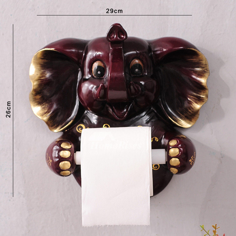 Painting Wall Mount Elephant Shaped Decorative Toilet Paper Holder