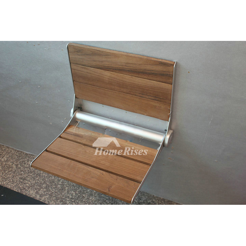 Solid Teak Shower Seat Wall Mount Wood