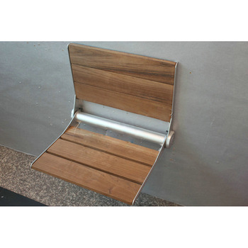 Bathroom Wall Mounted Wooden Folding Shower Seat With Legs