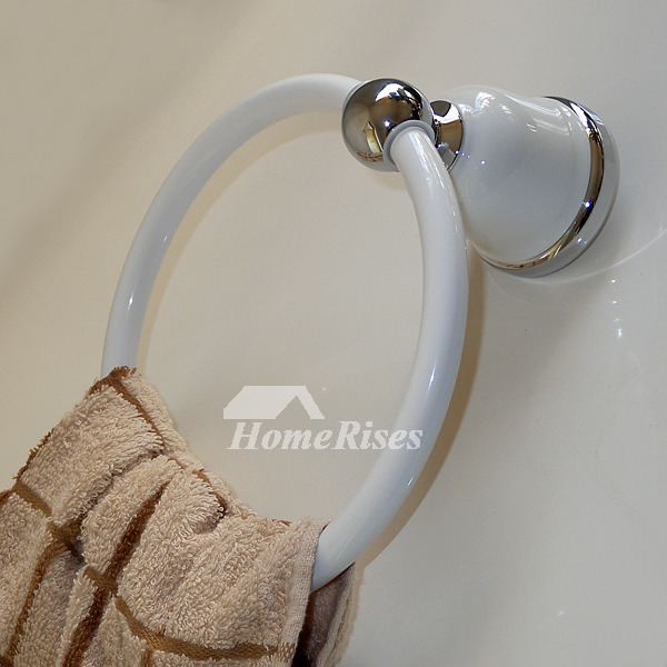 Contemporary Towel Ring Porcelain White Wall Round Shaped