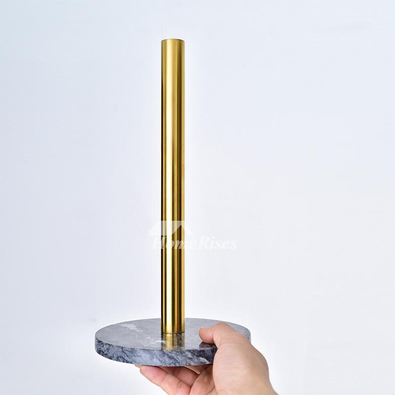 Kitchen Brass Marble Paper Towel Holder / Gold Tissue Holder Stand