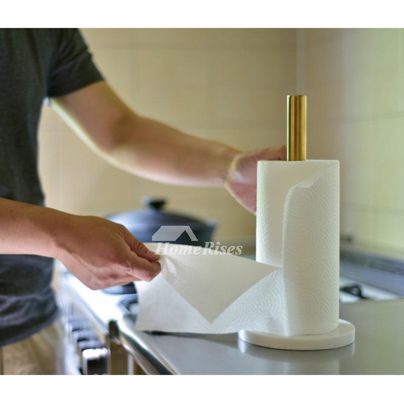 Kitchen Brass Marble Paper Towel Holder Gold Tissue