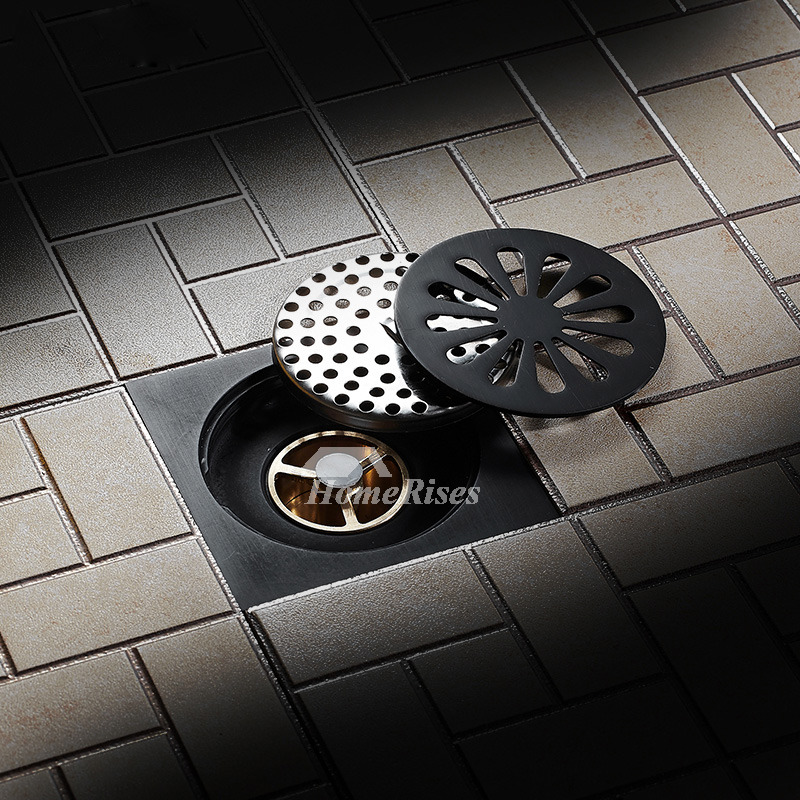 Oil Rubbed Bronze Shower Drain Floor Mounted Black