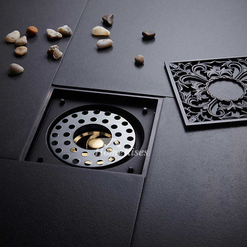 Oil Rubbed Bronze Shower Drain Carved Black Square