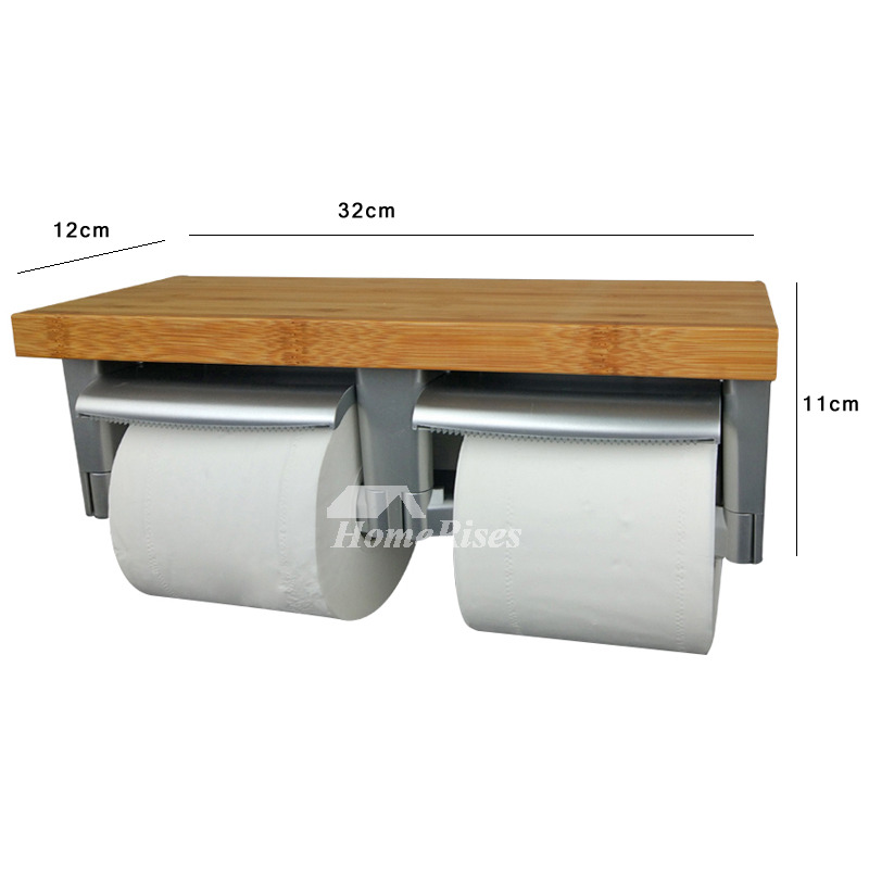 Wood Double Toilet Paper Holder With Shelf Wood Abs