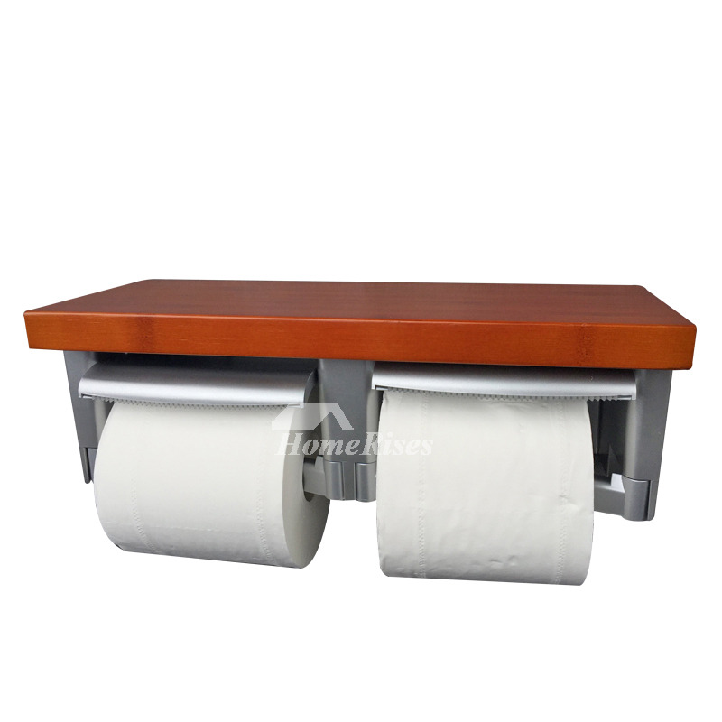 Wood Double Toilet Paper Holder With Shelf Wood Abs: wood toilet paper holders