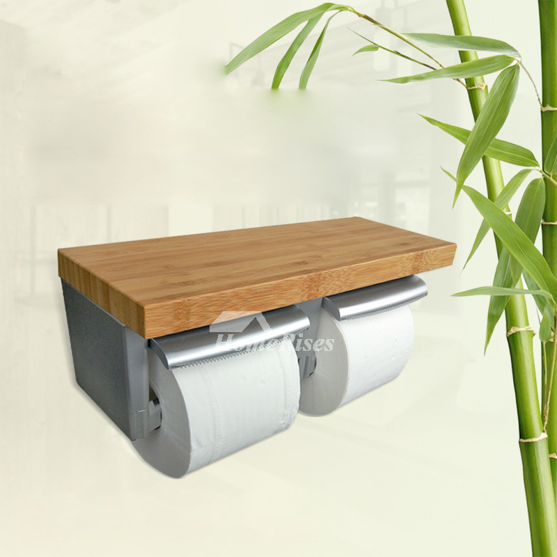 wood double toilet paper holder with shelf wood abs. Black Bedroom Furniture Sets. Home Design Ideas