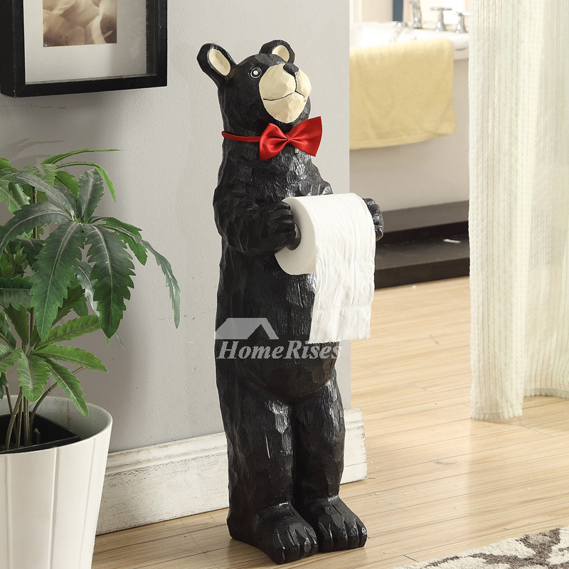 Funny Black Bear Toilet Paper Holder Standing Alone