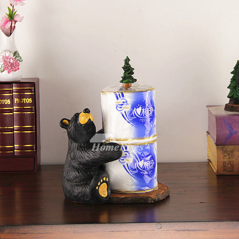 Unique Bear Toilet Paper Holder Stand Black Resin