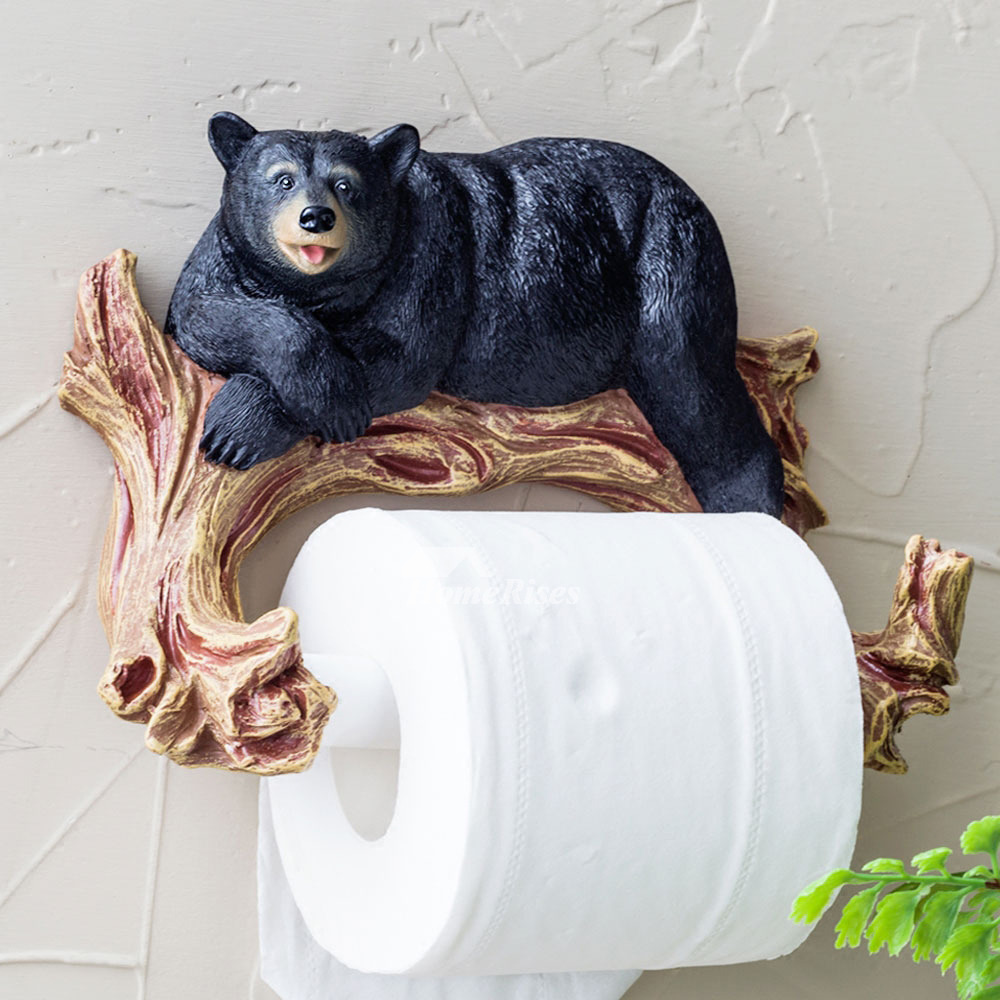 Bear Toilet Paper Holder Animal Unique Wall Mount