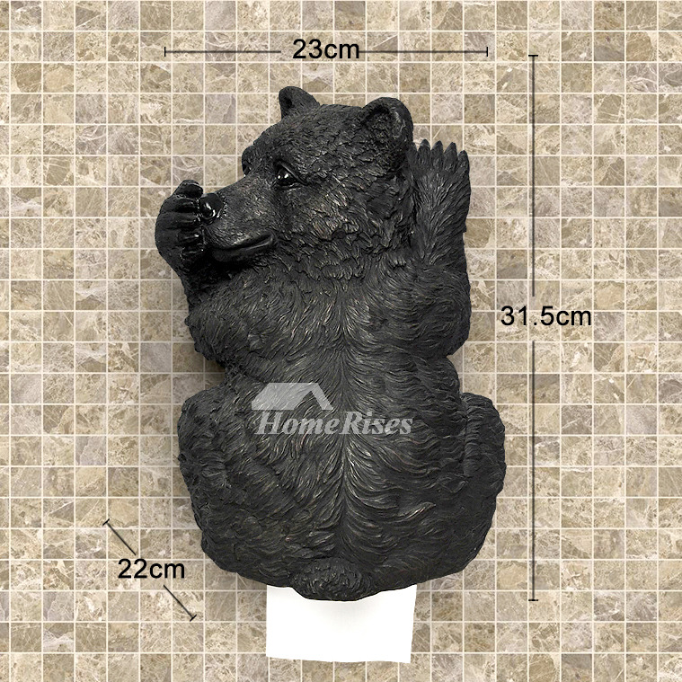 Black Bear Toilet Paper Holder Funny Wall Mount