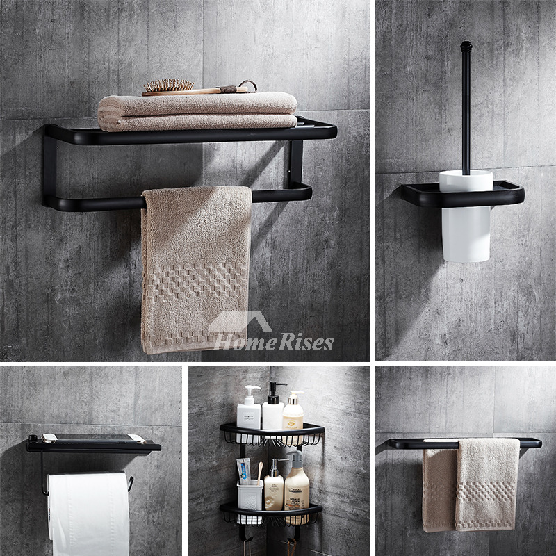Modern 5 piece black bathroom hardware sets oil rubbed bronze Oil rubbed bronze bathroom hardware