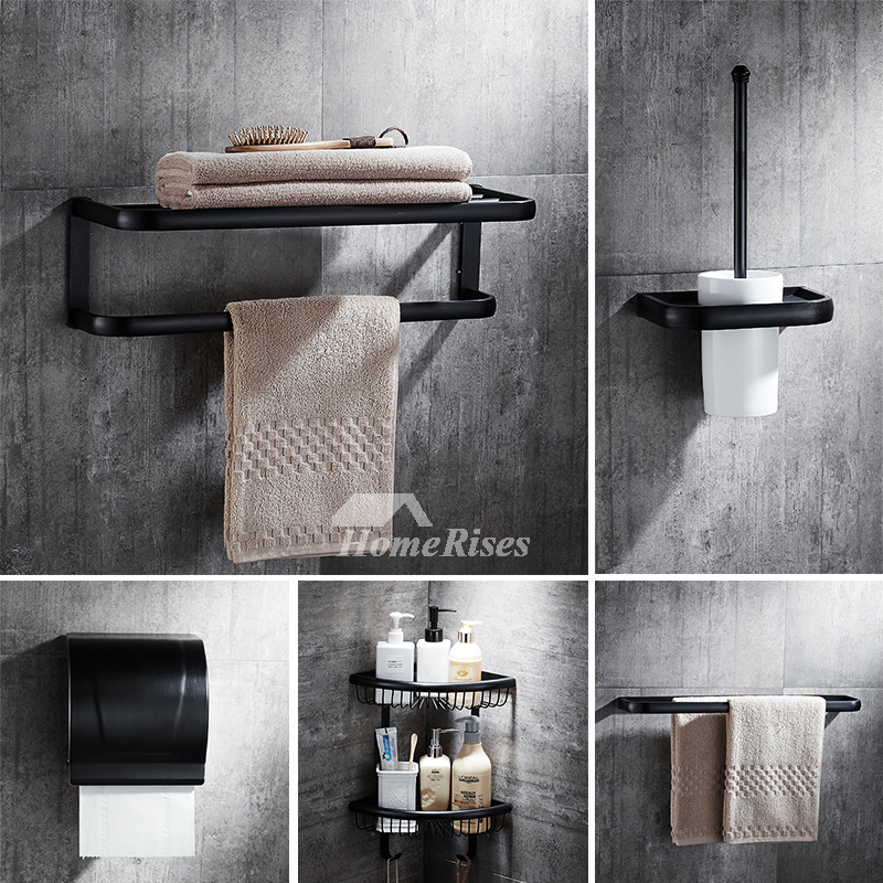 Modern 5 Piece Black Bathroom Hardware Sets Oil Rubbed Bronze