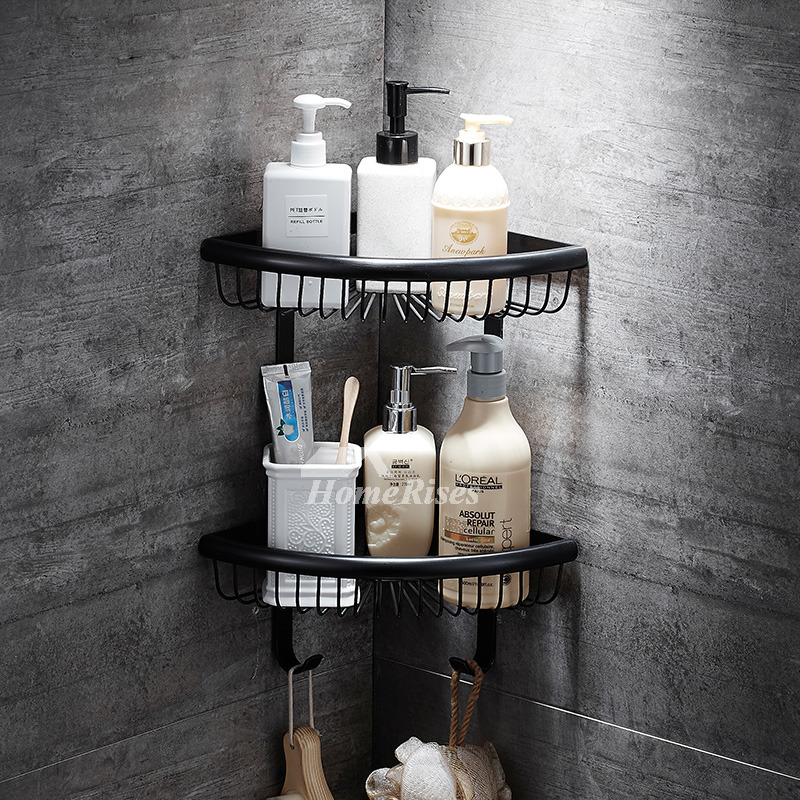 Black Wall Mount Double Layer Brass Bathroom Shelf