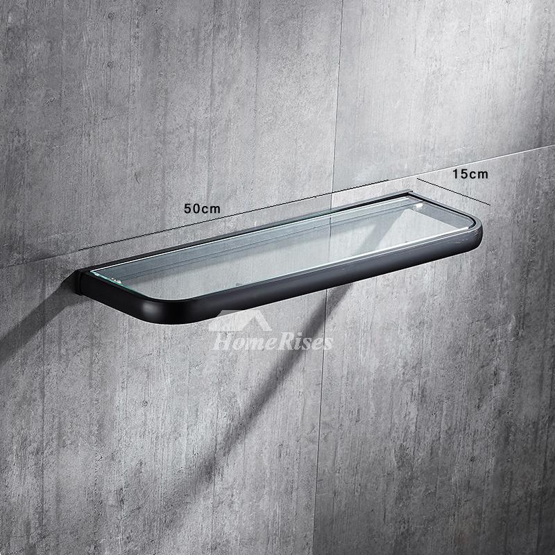 Glass Bathroom Shelves Black Oil-Rubbed Bronze