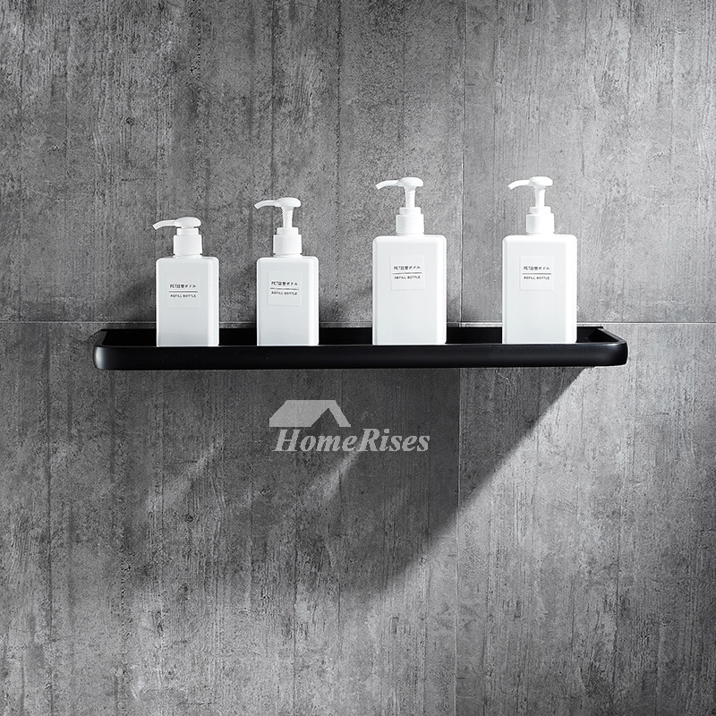 Vintage Wall Mount Single Panel Black Shelves For Bathroom