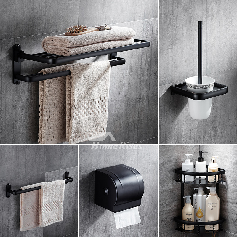 5 piece black oil rubbed bronze bathroom accessories set for Black bath accessories sets