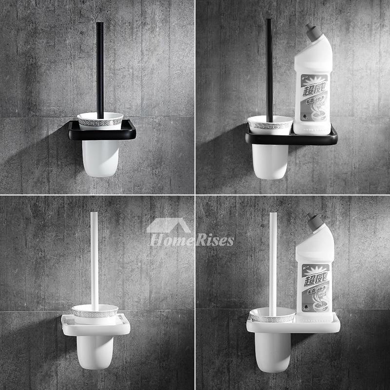 Wall Mounted Toilet Brush Holder Aluminum Ceramic