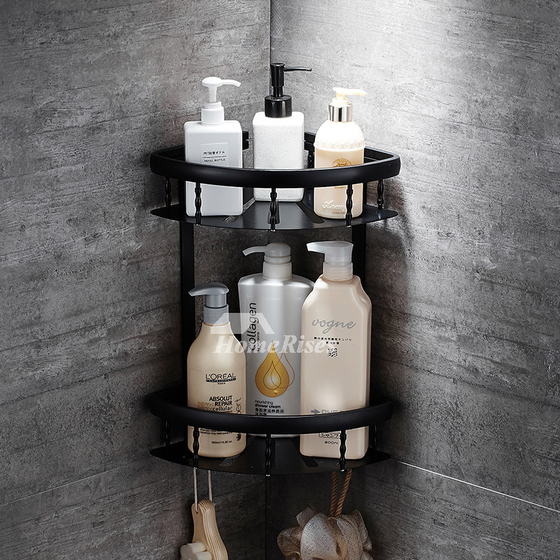 Double Layer Bathroom Shelves Wall Mounted Black