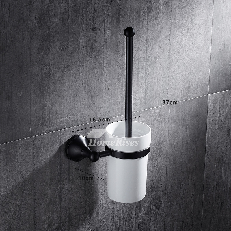 Ceramic Black Toilet Brush Holder Oil-Rubbed Bronze